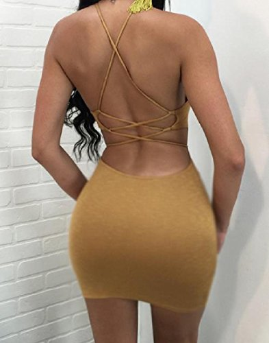 Cocktail Sleeveless Yellow Coolred Women's Dress Solid Backless Clubwear qEq0aFwI