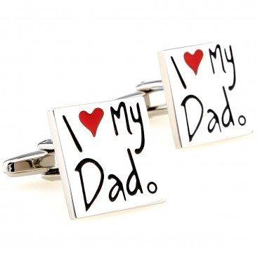 I Love My Dad Heart Silver Color Shirt Copper Cufflinks Ideal Gift for Wedding (1 Dad Cufflinks)