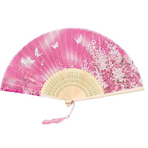 Flower Fan Bamboo - ruiycltd Butterfly Sakura Flower Pattern Bamboo Handheld Folding Fan for Girls Women - 10