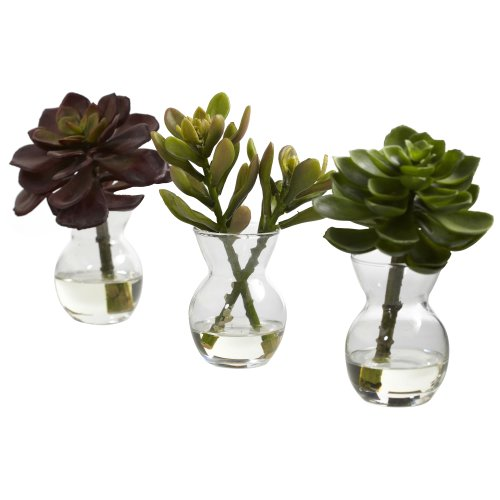 Nearly Natural 4954-S3 Succulent Arrangements, Green, Set of 3 (Vase Green Large)