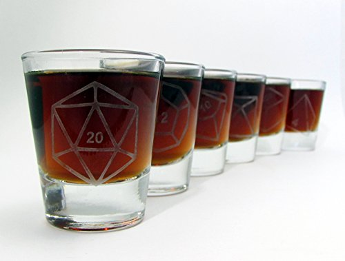 Gamer Dice Etched Shot Glass Set of 6