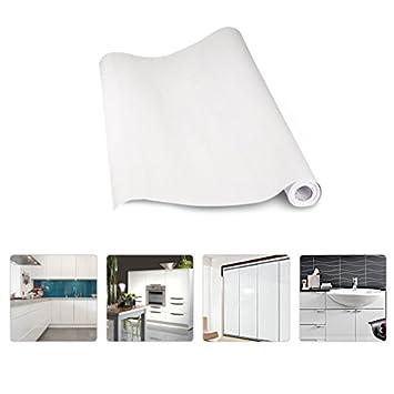 KINLO Aufkleber Küchenschränke Weiß 2 Stk. 61x500cm Aus Hochwertigem PVC  Tapeten Küche Klebefolie Möbel Wasserfest