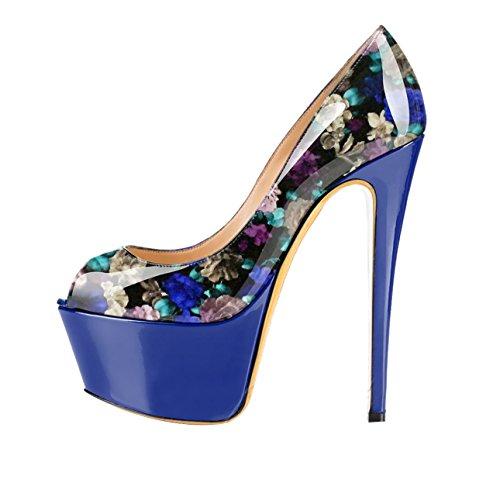 Guoar - Zapatos con tacón Mujer Bunt und Blau