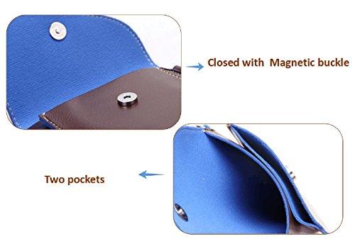 Bolso Pequeña Crossbody Bolso Bolso Teléfono Mini la móvil Azul la PU Azul de carpeta cuero Tibes de de xPqUHvUw