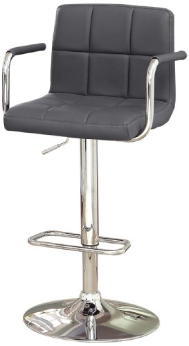 Furniture of America Modern Chelsea Leatherette Swivel Bar Stool, Gray