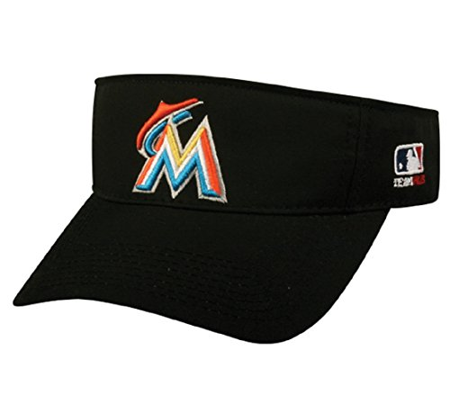 Miami Marlins MLB OC Sports Sun Visor Golf Hat Cap Black w/ Orange M Logo Adult Men's Adjustable ()