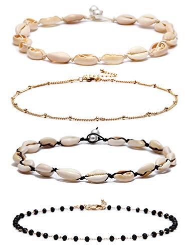 FUTTMI 4 Pieces Natural Shell Choker Hawaii Cowrie Shell Necklace Set Summer Beach Seashell Gold Star Pearl Choker Necklace Handmade Jewelry for Girls Women