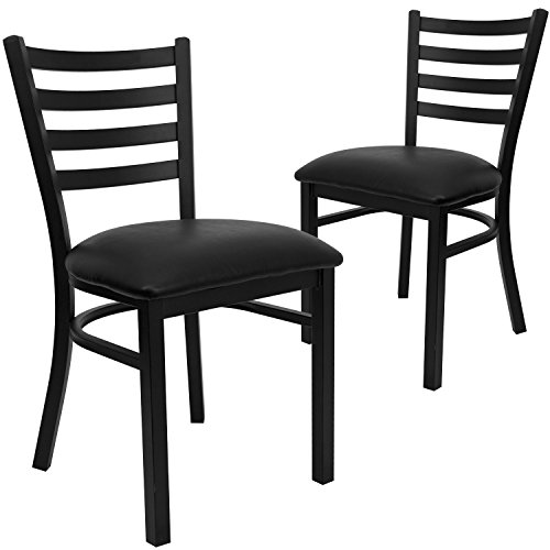 Flash Furniture 2 Pk. HERCULES Series Black Ladder Back Metal Restaurant Chair - Black Vinyl Seat by Flash Furniture