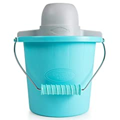 The fast and easy way to make quarts of ice cream, frozen yogurt, or gelato. This unit features a locking motor mount, easy-to-clean plastic bucket and 4 quart aluminum canister. Simply add your ingredients into the aluminum canister, place i...