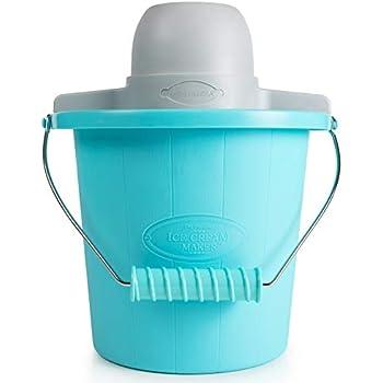 Nostalgia PICM4BG Electric Ice Cream Maker With Easy-Carry Handle Makes 4-Quarts In Minutes, Frozen Yogurt, Gelato - Blue