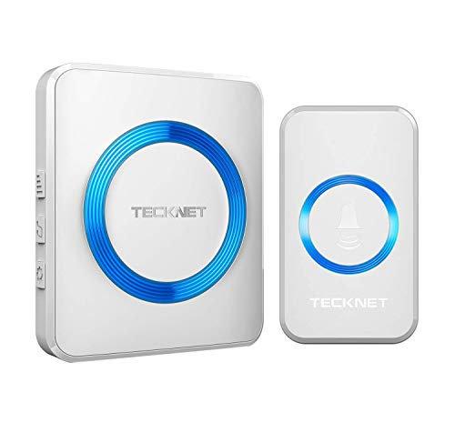 Wireless Doorbell, TeckNet Waterproof Door Bell Chime Kit Operating at 1000 Feet Range with 52 Chimes, 4 Levels Volume and LED Light, 1 Plug-in Receiver and 1 Push Button
