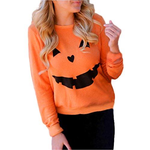d0a4a732b10 2017 Halloween Pumpkin Women T Shirt Tops Long Sleeve Sweatshirt