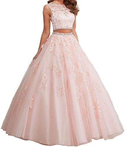 Promworld Damen A-Linie Kleid blau marineblau Pearl Pink