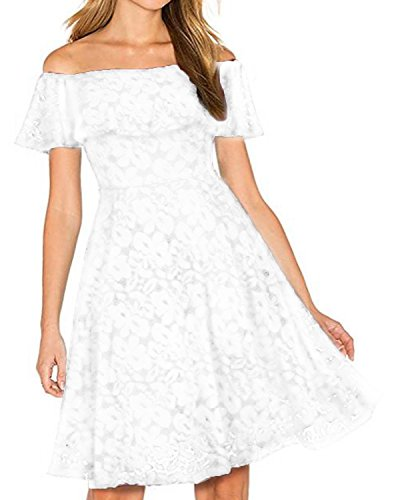 Kidsform Women's Off Shoulder Lace Dress Vintage Floral Cocktail Party Wedding Dresses White L