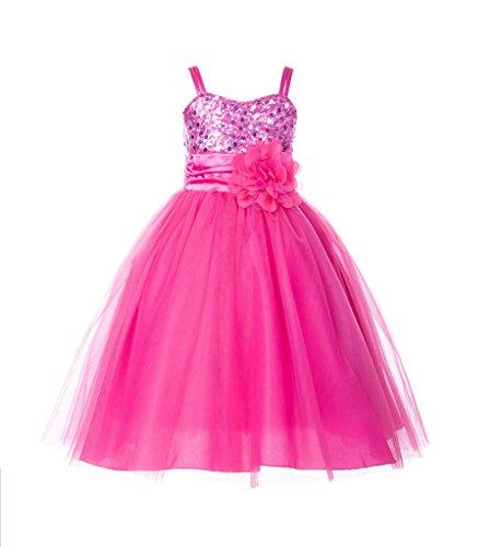 Wedding Pageant Sequin Flower girl dress Tulle Toddler Summer Easter Holiday Princess Gown B-1508NF (Designer Communion Dresses)
