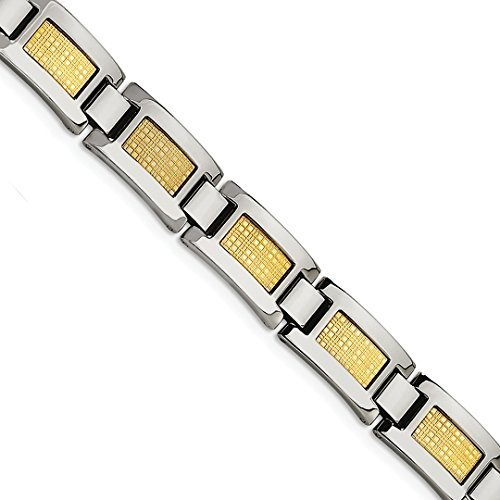 ICE CARATS Stainless Steel 18k Gold Foil 8.25in Bracelet 8.25 Inch Man Link Men Fine Jewelry Dad Mens Gift Set by ICE CARATS