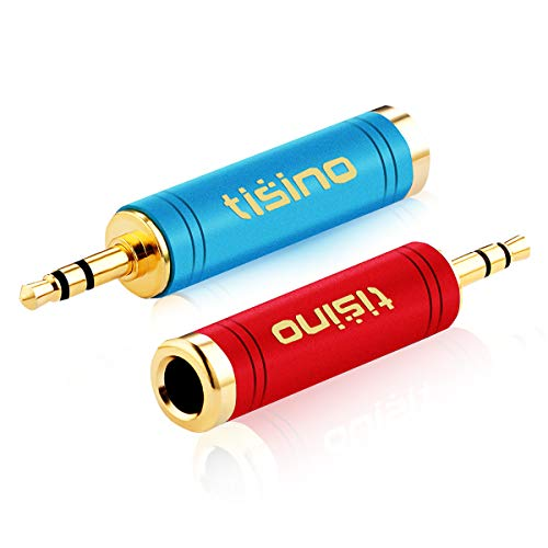 TISINO 3.5mm to 1/4 Adapter, Gold-Plated Pure Copper 1/8 inch Male Plug to 1/4 inch Female Jack Stereo Adapter - 2 Pack