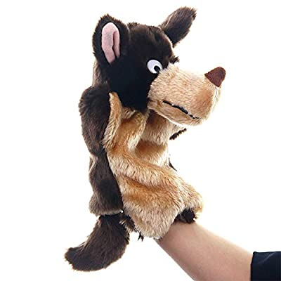 KOSSJAA Animals Hand Puppet for Kid Dogs Adults and Children Storytelling Game Props Toy Girls Kindergarten Role Play (Wolf): Toys & Games