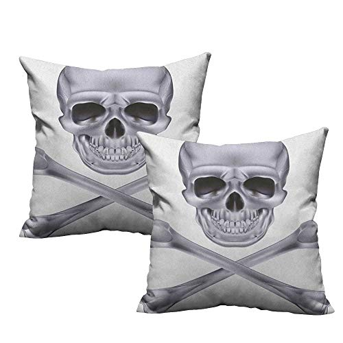 (RuppertTextile Customized Pillowcase Grey Vivid Skull and Crossed Bones Dangerous Scary Dead Skeleton Evil Face Halloween Theme Mildew Proof W14 xL14 2)