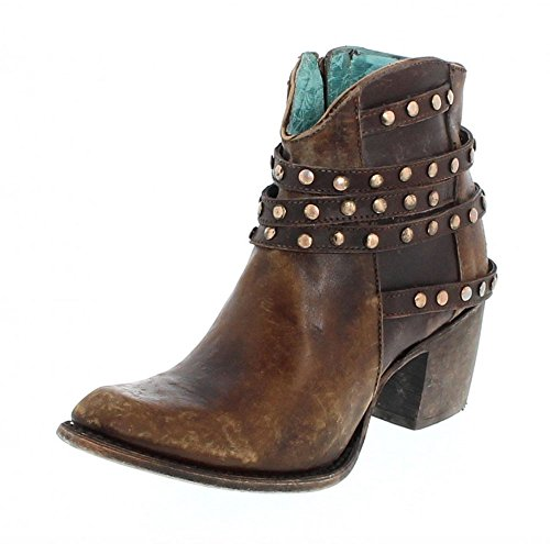 Corral Women's Brown Studded Strapped Ankle Boots C2993 Size 7.5