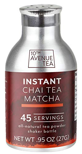 10th Avenue Tea Instant Chai Tea Matcha Powder (45 servings) | Serve Iced or Hot, Lattes, Drink Recipes, Water Enhancer | Antioxidants, Natural Energy, Sugar-Free