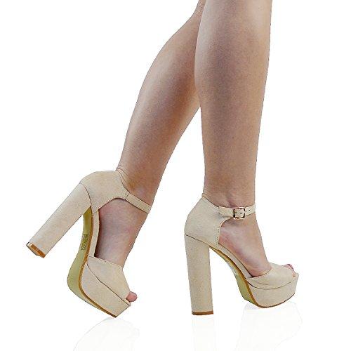 ESSEX GLAM Sintético Sandalias de punta abierta con tacón alto, plataforma y tira al tobillo para fiesta Desnudo Gamuza Sintética
