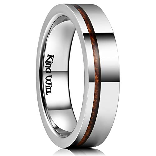 (King Will Nature 5mm Silver Titanium Wedding Ring Thin Wood Inlay Pipe Cut Comfort Fit 11)