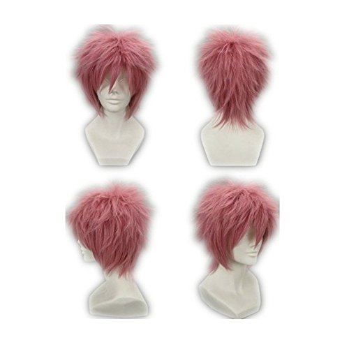 Natsu New Costume (COSPLAZA Cosplay Wig Short Pink Anime Full Hair Synthetic Wigs with Net)