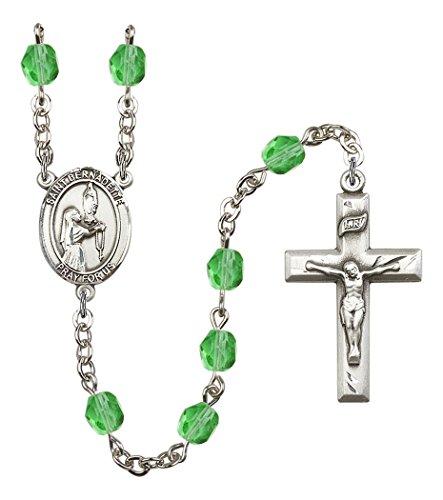 August Birth Month Prayer Bead Rosary with Saint Bernadette Centerpiece, 19 Inch