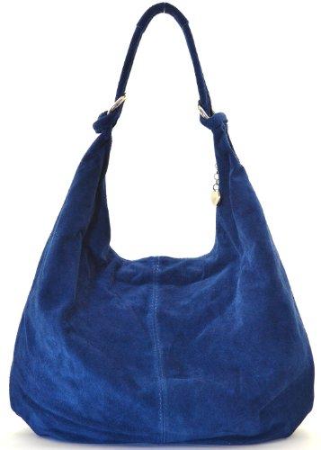 nouvelle sac 2018 collection Cuir à main Moyen Modèle cuir bloom femme porté épaule nubuck Destock Bleu main 41x7H