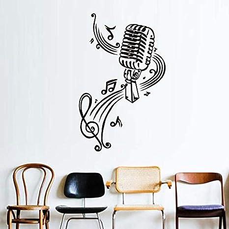 Micrófono y notas musicales de vinilo pegatinas de pared para habitaciones de los niños Decoración de la pared Diy Wallpaper Posters Decoración para el hogar Accesorios 37x57cm: Amazon.es: Bebé