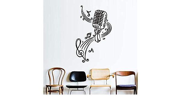 Micrófono y notas musicales de vinilo pegatinas de pared para ...