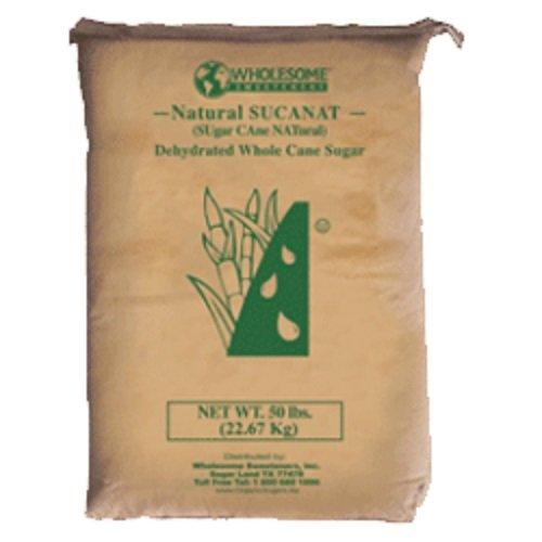 Wholesome Fair Trade Organic Sucanat Whole Cane Sugar, Naturally Flavored Real Sugar, Non GMO & Gluten Free, 50 lb (Pack of 1)