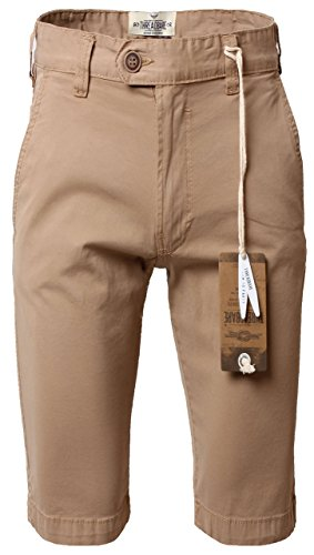 Threadbare Men's Chino Peached Twill Shorts Canvas Cotton Beach Holiday Summer 36 Waist X Regular Light Stone (Peached Chino)