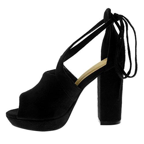 Croisées 5 11 Femme Cm Haut Lanières Mode Bloc Peep Talon Cheville Sandale Lanière Noir toe Plateforme Chaussure Angkorly Mule FZPaw
