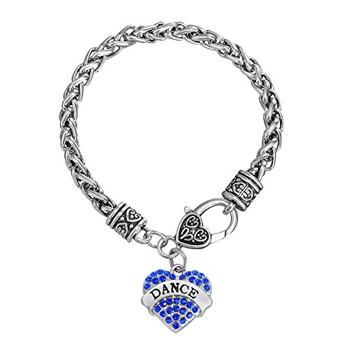 Strand Bracelet Wheat (Fashion Heart-Shape Dance Words with Clear Crystal Wheat Chain Bracelet Jewelry (Blue))