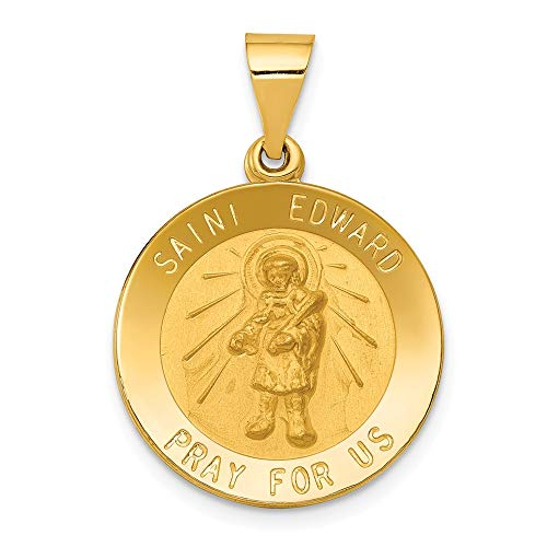 Medal Pendant Edward - 14K Yellow Gold Polished And Satin St. Edward Medal Pendant from Roy Rose Jewelry