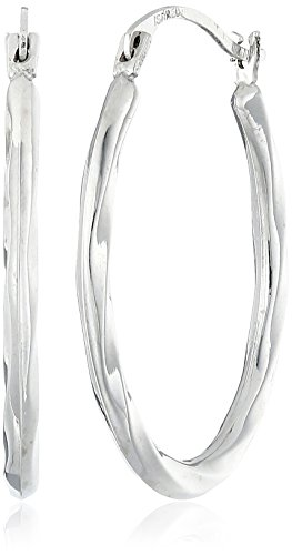 14k White Gold Oval Twist Hoop Earrings 14k Yellow Gold Plain Hoop