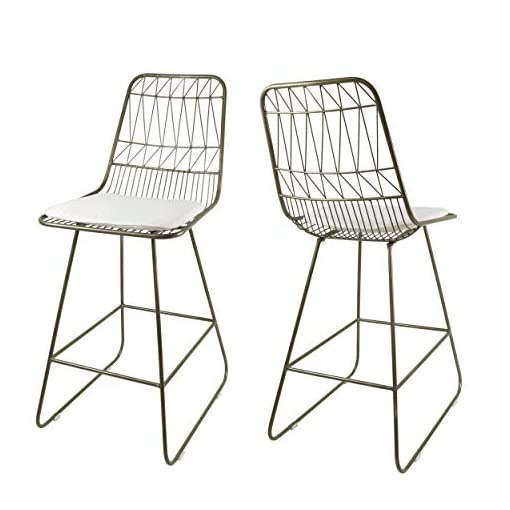 Kitchen Christopher Knight Home Lilith Counter Stools, 26″ Seats, Modern, Geometric, Light Brass Iron Frames with Ivory Cushion (Set of 2) modern barstools