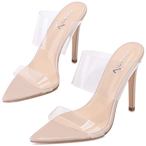 High Slides Sexy Heel - vivianly Womens Fashion Sexy High Pointed Toe Heels Slip on Dress Sandals Nude