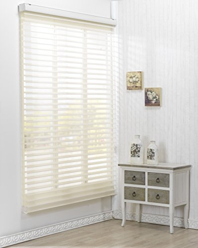 Custom Cut to Size , [Winsharp Triple 55pd , Ivory , W 31 x H 82 (Inch)] Roller Sheer Fabric Shade Horizontal Window Blinds & Treatments , Maximum 91 Inch - Sheer Shades Horizontal