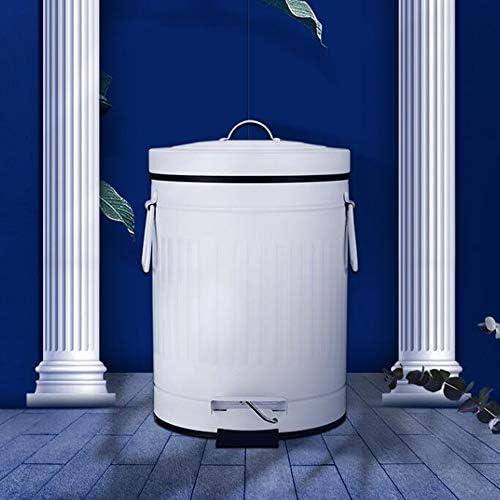 レトロなゴミ箱、金属素材、サイレントでスロードロップ、大容量の足で操作するゴミ箱、蓋付きのデザインは独特の臭いを発しません