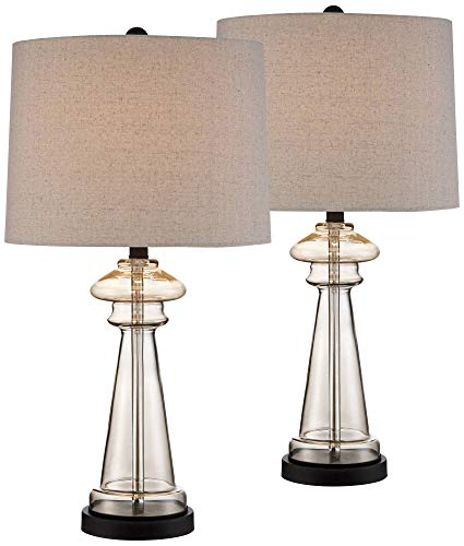 Dalia Cottage Table Lamps Set of 2 Champagne Gold Glass Taupe Drum Shade for Living Room Family Bedroom Bedside Nightstand - 360 Lighting (Glass Lamps Table For Living Room Clear)
