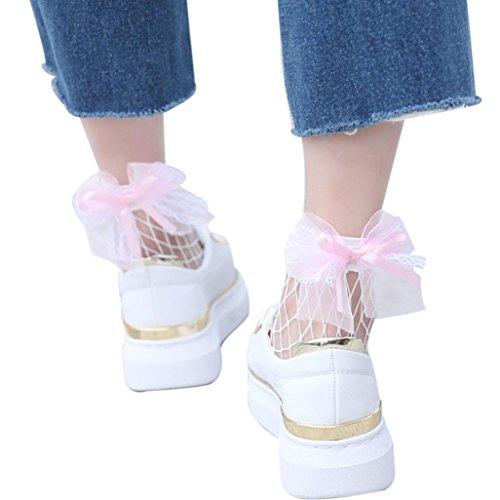 Napoo Clearance Women Mesh Ruffle Bowknot Fishnet Socks Ankl
