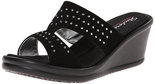 Skechers Cali Women's Rumblers-Hope Float Wedge Sandal, Black, 9 M US