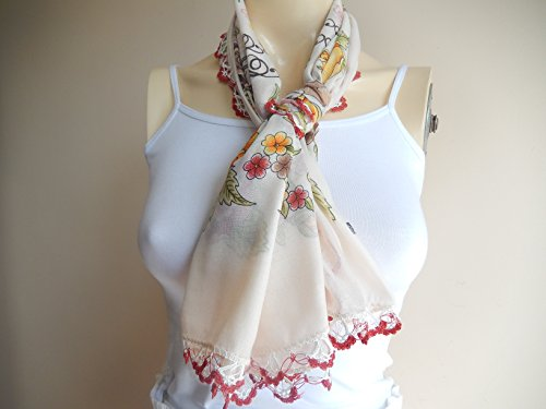 Cream Square Cotton Scarf /Turkish Anatolian Oya Scarf with Hand Crochet Lace Edges Hand Crochet Edge