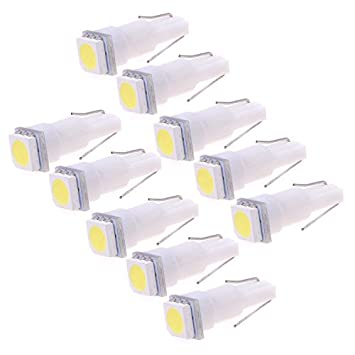 Kmise 10 unidades T5 cuña blancas velocímetro 5050 Bombilla SMD LED Cuadro de instrumentos: Amazon.es: Coche y moto