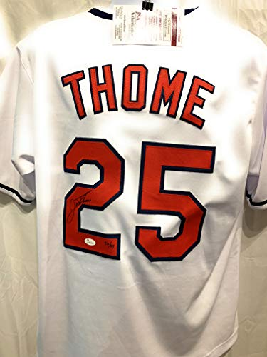 (Jim Thome Cleveland Indians Signed Autograph Custom White Jersey Limited Edition Cleveland Rocks JSA Certified)