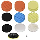 HIFROM 7'/180mm Polishing Buffing Pad Auto Car Drill Polisher Buffer Sponge Pads Set M14 Drill Adapter With Shank (Set of 16)