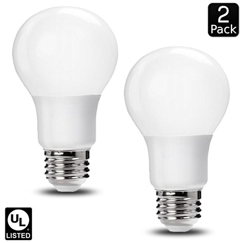 Luxrite LR21394 (2-Pack) 9W LED A19 Light Bulb, 60W Equivalent, Non-Dimmable, Bright White 5000K, 800 Lumens, E26 Base, UL-Listed (White Incandescent Two Light)